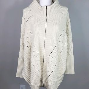 Simply Noelle Cream Sweater Poncho Cable Knit